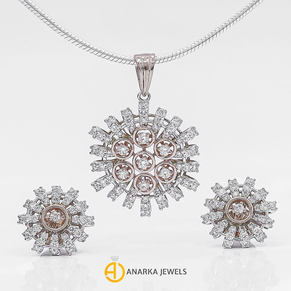 Jewellery set with concrete diamond chain pendant and earrings Dipped Top rose gold gold silver